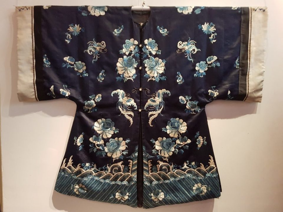 Antique Chinese black silk robe with embroidery