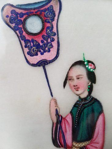 No 159 Chinese Pit Paper Painting: Elegant Lady Holding Van, Detail