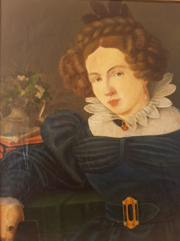 Portrait of a German Elegant Young Lady. Early Biedermeier
