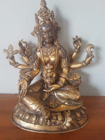 Sino Tibetan Fire Gilt Six Armed Buddha Statue