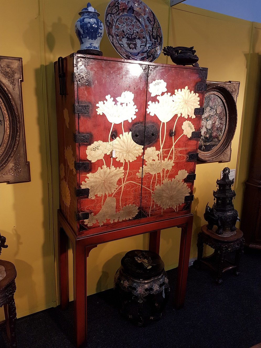 Japanese antique red lacquer collectors cabinet Meiji period