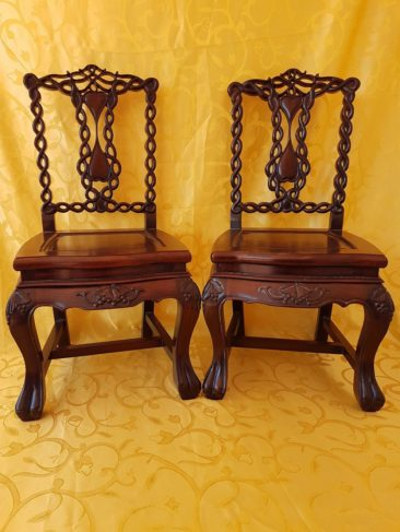 No 211 Pair of Nice Chinese Rose Wood Children's Chairs,  Finely Pierced