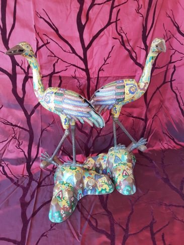 No 208 Pair of Rare Chinese Cloisonné Storks, Late Qing Dynasty