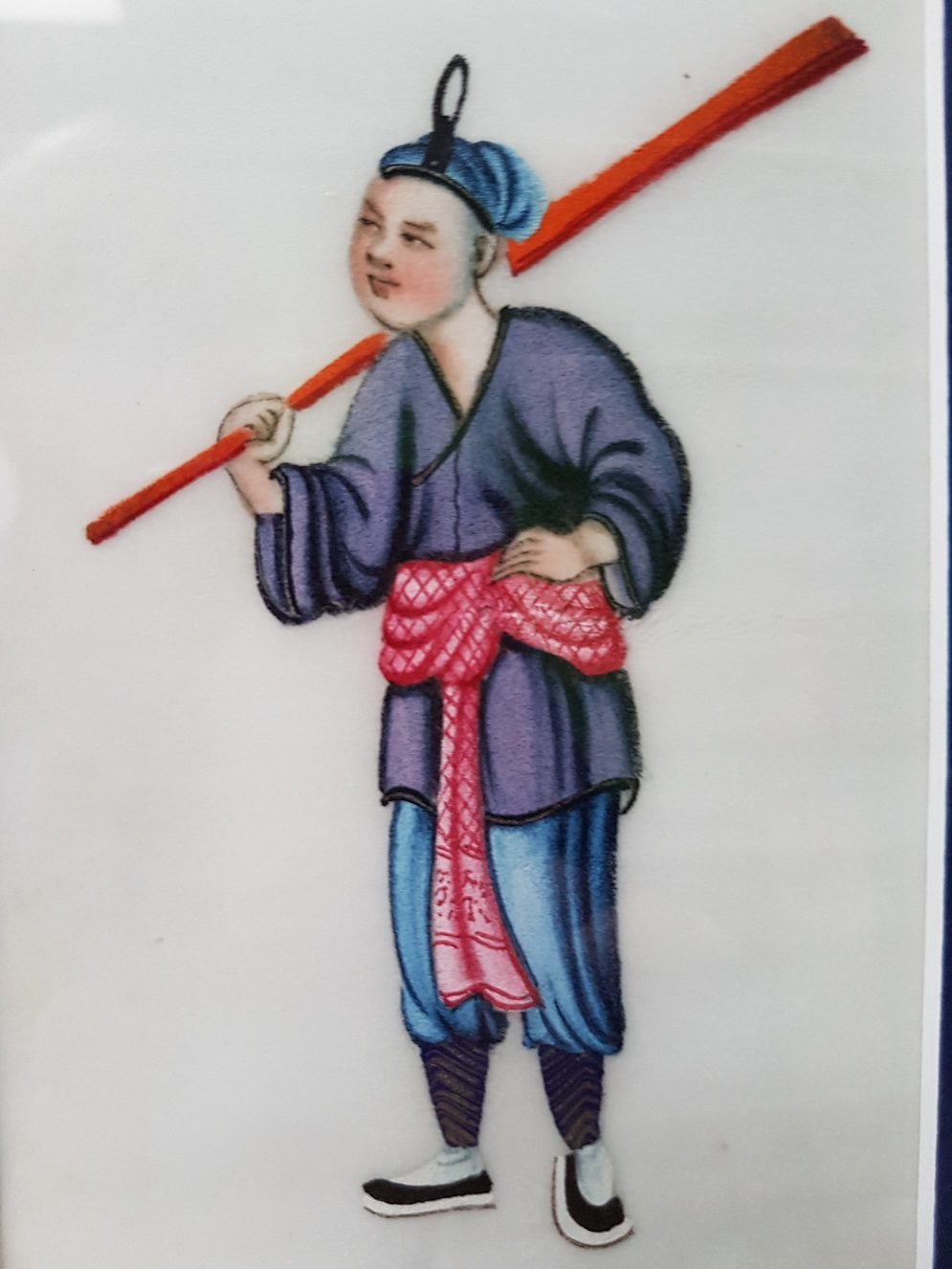 Pit paper Painting of a Chinese Fisherman with Rowing Implements