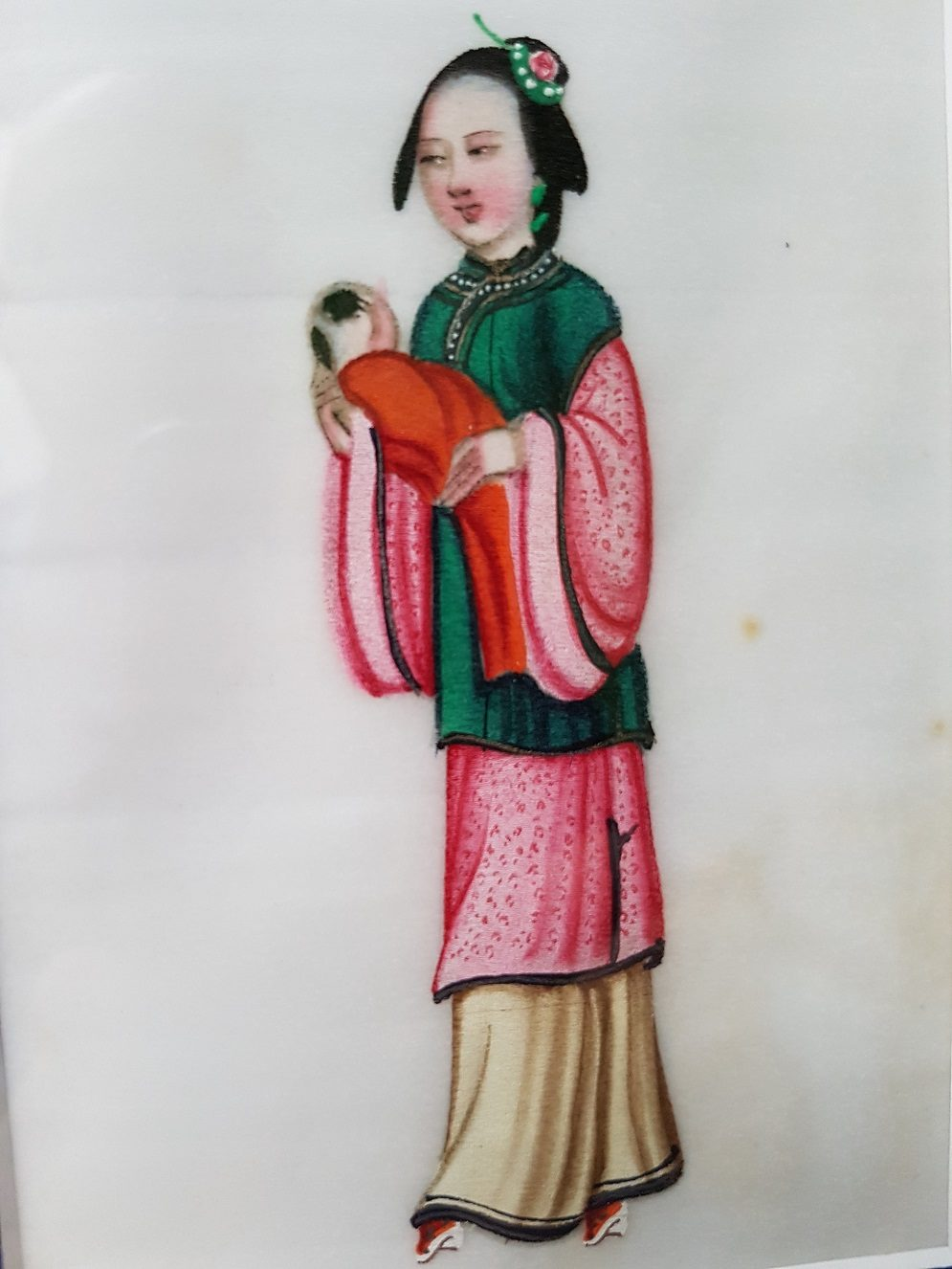 Pit paper Painting of a Chinese Lady Holding a Baby