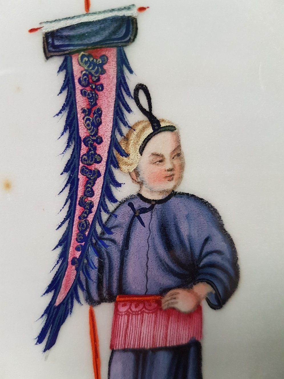 Pit paper Painting of a Chinese Man Holding a Colorful Banner