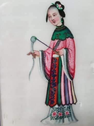No 157C Pit Paper Painting – Chinese Lady with Spinning Implements