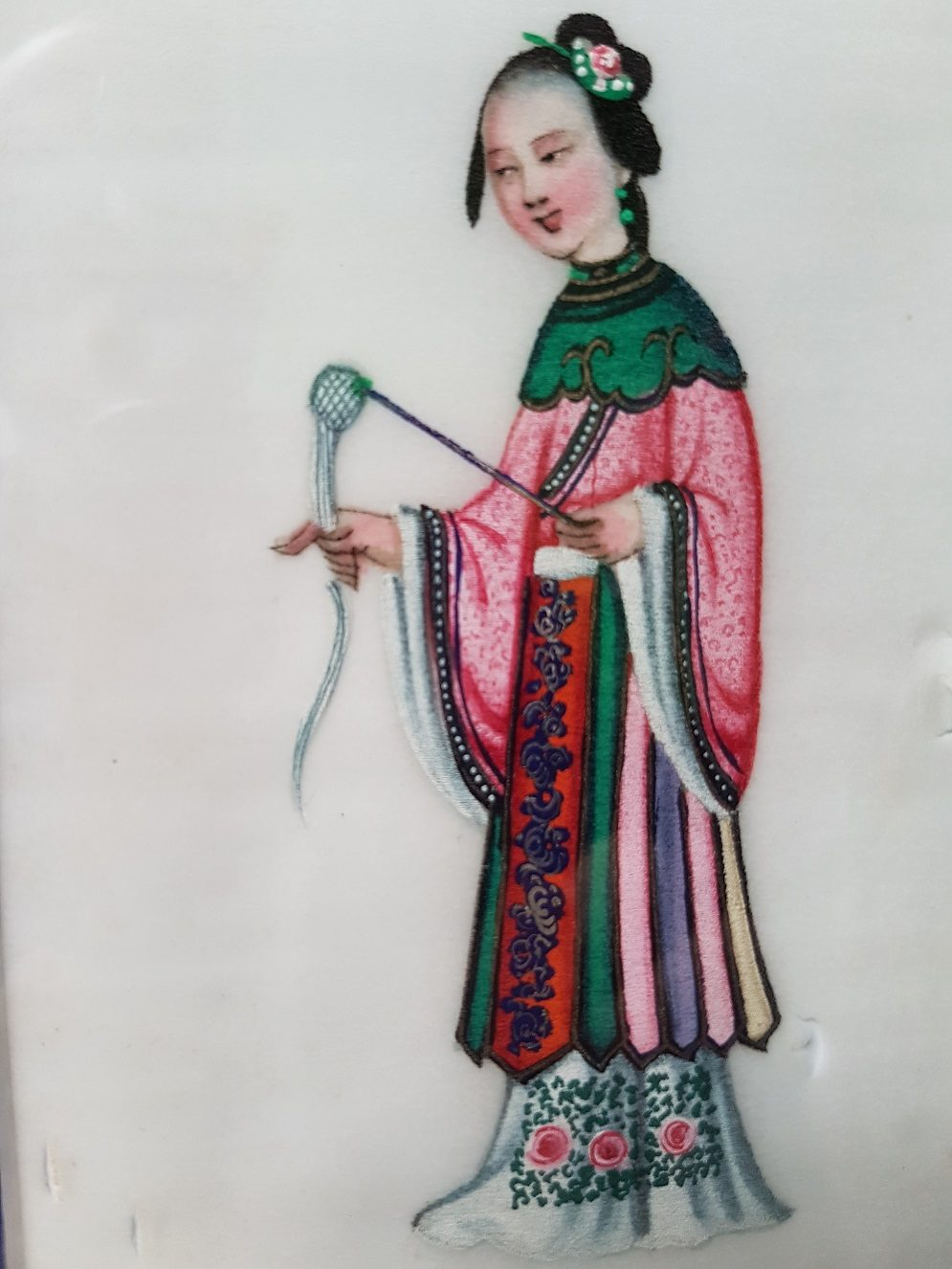 Pit paper Painting of a Chinese Elegant Lady Holding Spinning Implements