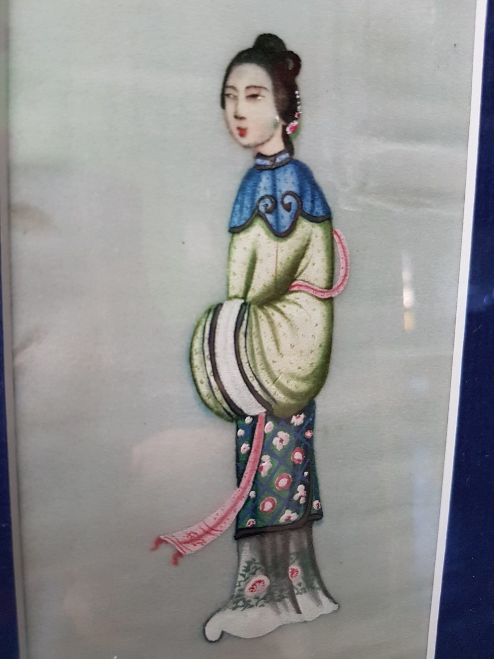 Pit paper Painting of a Chinese Elegant Lady with Pink Scarf