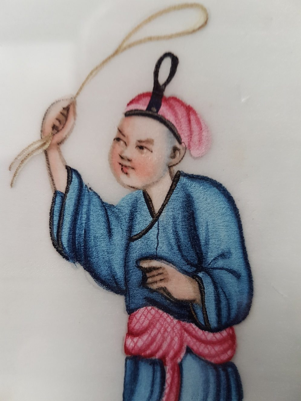 Pit paper Painting of a Chinese Man Holding a Rope