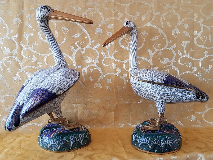 Pair of Chinese Cloisonne Pelicans high 47 cm, Mid 20th Century .
