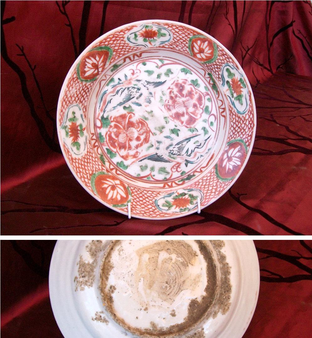 17th century Zhangzhou polygrome plate with phoenix birds
