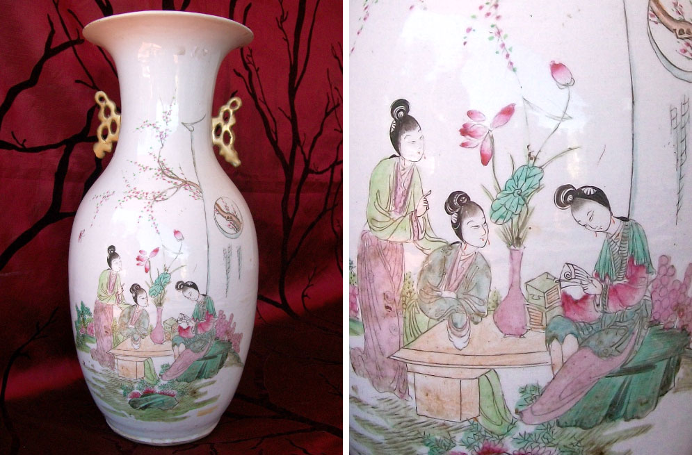 Late-Qing-dynasty-1644-1911-porcelain-vase-decorated-with-elegant-ladies-in-landscape-with-blossoms