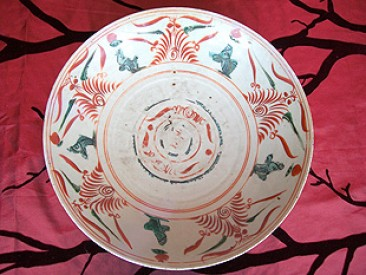 No 10 – Antique Chinese Polychrome Swatow or Zhangzhou Deep Charger, 17th Century