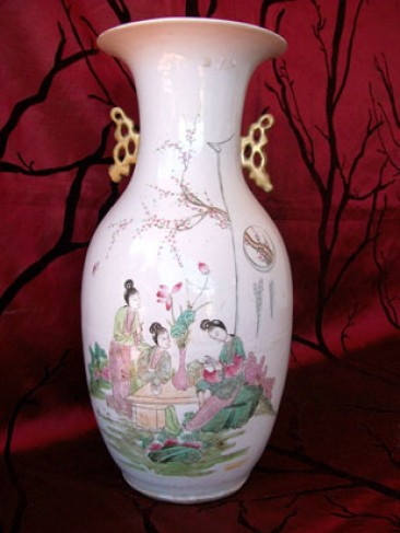 Chinese Porcelain Vase  With Ladies and Blossoms