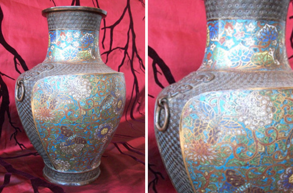 Late Qing dynasty (1644-1911) cloisonee vase with flowers and dragon flies