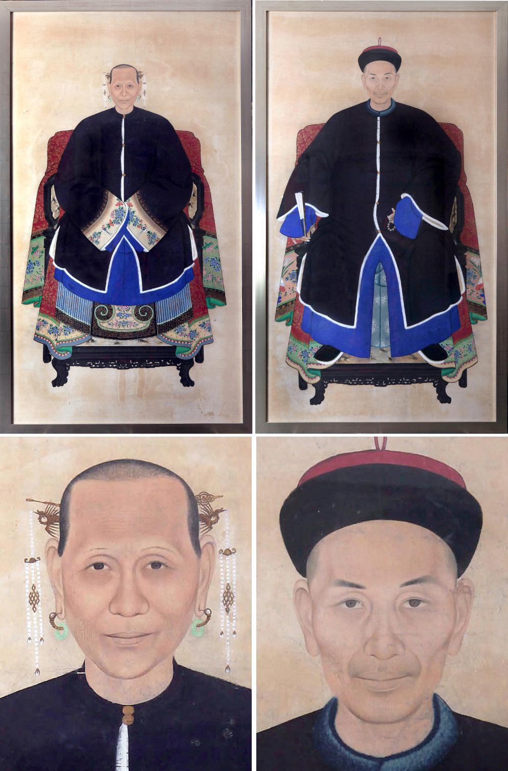 Qing dynasty (1644-1911) pair of ancestor portraits