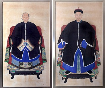 No 8A – Chinese Painting Pair of Ancestor Portraits Qing Dynasty (1644-1911)