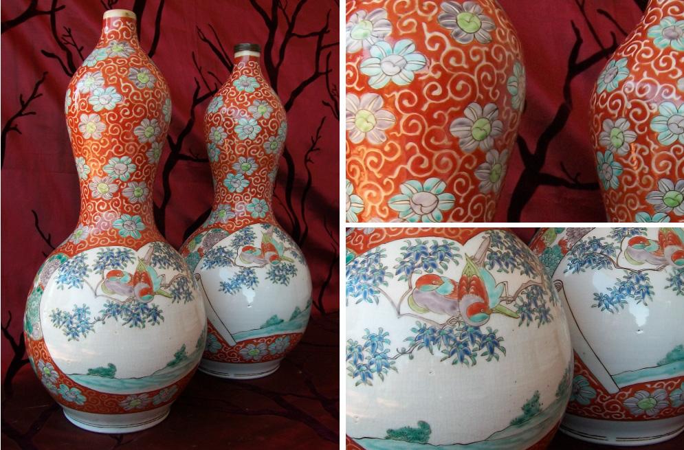 Meiji period (1868-1912) Japanese double gourd vases in kakiemon style