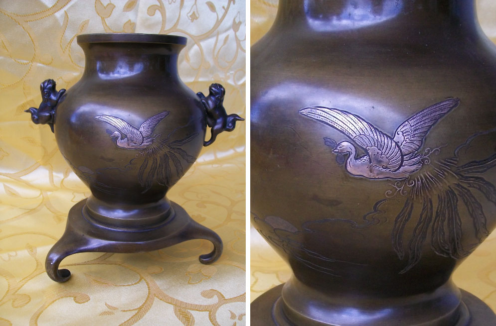 Meiji period (1868-1912) Japanese bronze vase with silver and copper inlay of bird