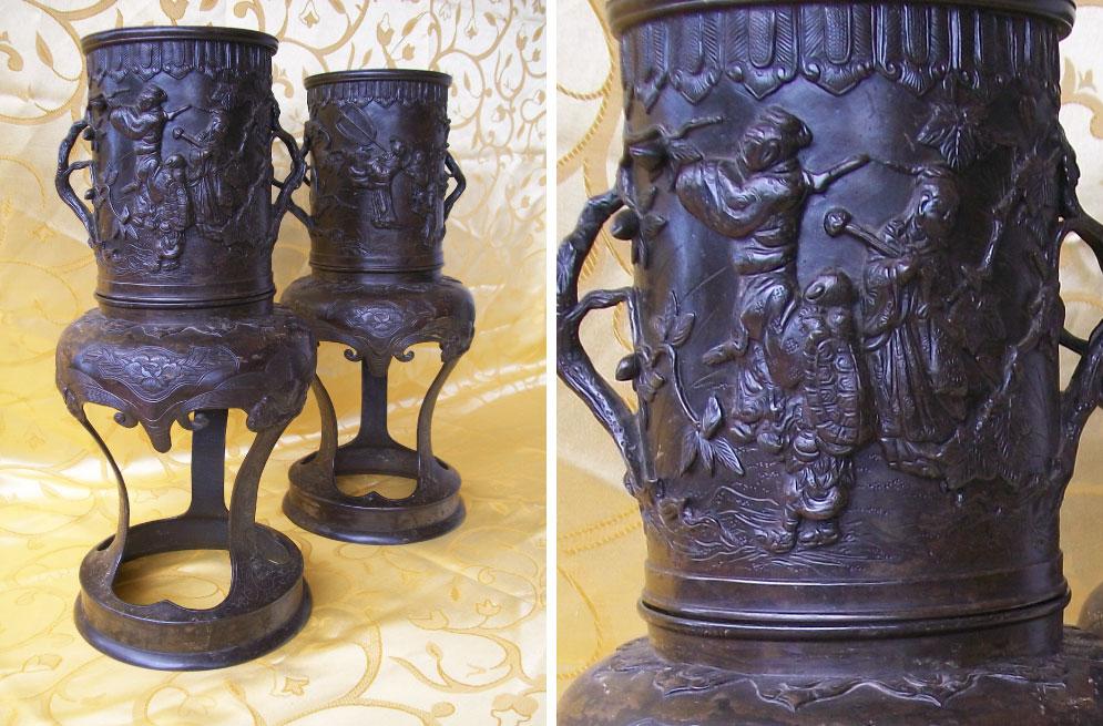 Meiji-period-1868-1912-bronze-Japanese-vases-with-court-scenes