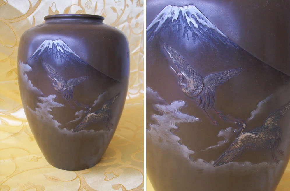 Taisho period (1912-1926) Japanese bronze vase with silver inlay of Mount Fuji with cranes